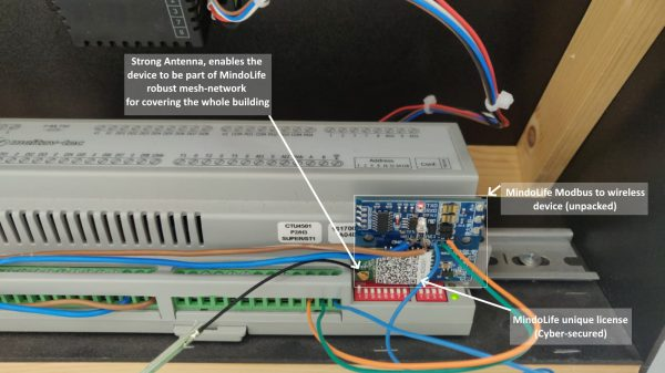 Mindolife wireless Modbus wiring example